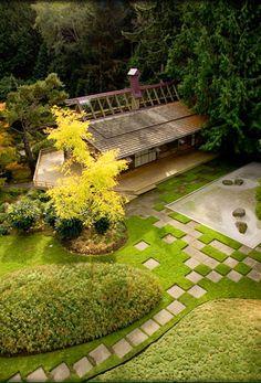 Stunning stone path design at Japanese Garden @ Bloedel Reserve on Bainbridge Island in Seattle