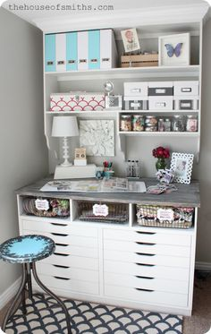 Custom shelving - thehouseofsmiths.com craft space, decorating blogs, diy craft nooks, craft areas, hous, offic makeov, desk, home offices, craft rooms