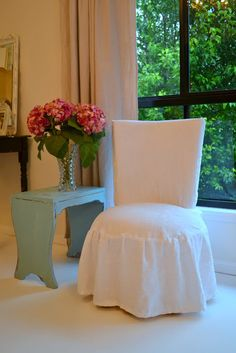 DIY::Under Five Dollar Cottage Classic -Styled Slipcovers From Tablecloth ! Great Tutorial