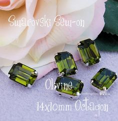 Olivine Green Octagon 4600 Sew On - Swarovski Crystal 14x10mm in a SP 4-hole Prong Setting Wire Jewelry Supply