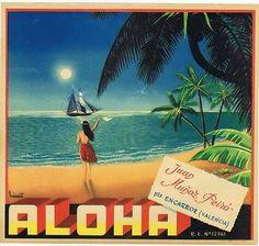 Aloha Hawaiian Original Orange Crate Label | eBay