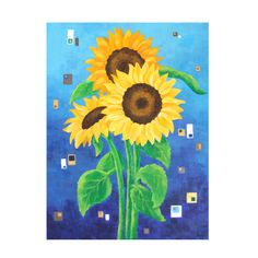 Original Painting SUNFLOWERS on BLUE18x24 Acrylic by nJoyArt #art #decor #painting #canvas