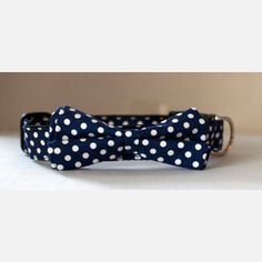 Dot Bow Tie Collar Navy now featured on Fab....Rover Boutique