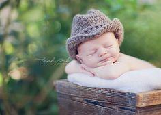 baby cowboy knit hat