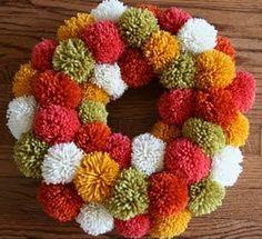 holiday, thanksgiving wreaths, yarn crafts, pom poms, back doors, pom pom crafts, craft party, pom wreath, yarn wreaths
