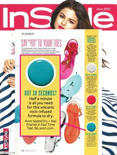 AVON Speed Dry+ Nail Enamel in Fast Time Teal is featured in the June 2013 issue of InStyle