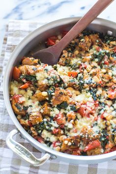 Skillet Tomato Casserole with White Beans and Parmesan Croutons | Um... yes, please!