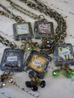 Word Necklaces find supplies #word charms #bezels #glass domes #chains #stamping blanks at eCrafty.com