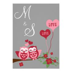 Owls in Love Wedding Personalized Invitations
