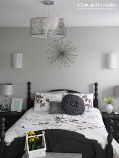LOVE this Soft Gray Master Bedroom Makeover via @Cleanscents