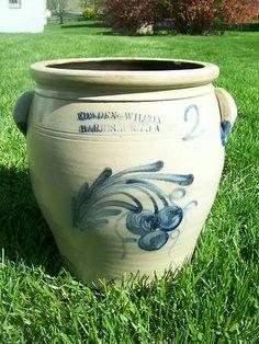 """""""Cowden & Wilcox"""" Harrisburg PA Stoneware Cream Pot cream pot, harrisburg pa, stonewar crock"""
