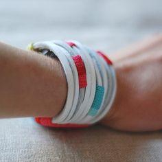 cotton cuff, accessor, leather jewelri, craft idea, cuffs, diy, kjoo ganchillo