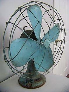 vintage fan in blue