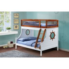 Farah Oak White Finish Twin Over Full Bunk Bed