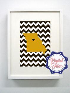 Mizzou Black and Gold Missouri Digital Print -  Go Tigers. $6.00, via Etsy.