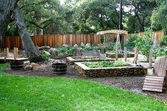 raised rock veggie gardens