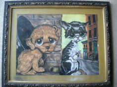 C1960s Vintage Big Eye Art Pity Puppy Kitty Painting Heavy Wood Picture Frame | eBay