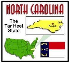 NORTH CAROLINA • The Tar Heel State carolina usa, carolina genealog, unit studi, heel state, carolina map, atlant state, field trip, tar heel, north carolina
