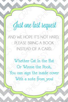 Boys Baby Shower Bring a Book Insert Card Chevron by Sassygfx, $5.00