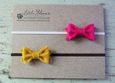 Tiny Felt Bow Headbands by LittleBloomsHandmade