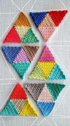 Make a shawl from crocheted triangles. crochet triangle pattern, knitted shawls, crochet sweaters, crochet stitches, triangle crochet pattern, knit shawl, crochet patterns, geometric crochet blanket, crochet shawl