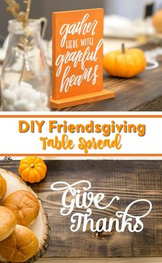 Today we're sharing our official DIY Friendsgiving Table Spread. I  love this because it couldn't be easier to replicate and it really shows how  the simple touches make every table spread so unique. #cricut #diecutting #diycricut #diycricutprojects  #cricutideas #diycricutprojects #cricutprojects #cricutcraftideas  #diycricutideas #diy  #crafts #funprojects #diyideas #craftprojects #diyprojectidea #teencraftidea  #falldecor #fallcrafts #diyfallideas #fall #autumn #friendsgiving