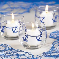nautical theme decorations, Candle Anchors Around Each