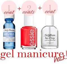 Gel Manicure, I've done this with many different colors and brands of polish.... they are shiny, chip proof and last until you have enough growth that you HAVE to redo them. Cheap Gel Nails at home!