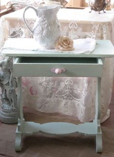 Shabby Chic Table Vintage Mint Green chippy paint by Fannypippin,