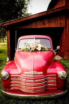 Poppy red just married vintage get away car