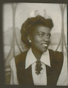 +~ Vintage Photo Booth Picture ~+ Beautiful African American Young Woman