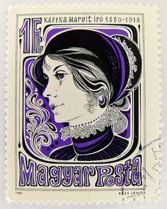 1 forintos bélyeg, Kaffka Margit, író, 1880-1918.