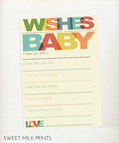 Gender Neutral Well Wishes for Baby Printable - Baby Shower Activity. $8.00, via Etsy.