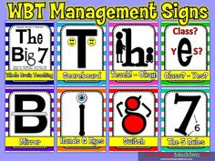 """WBT """"The Big 7"""" - mnemonic device signs for teaching these classroom management strategies to your staff"""