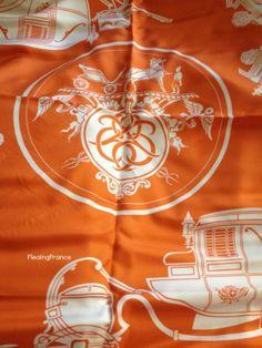 FleaingFrance Brocante Society Vintage Hermes Scarf - Ex Libris Design
