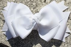 White Layered Hair Bow White Bow Solid Color Bow Bow by bowsforme, $7.00