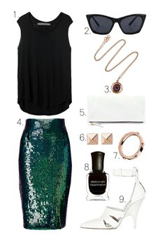 1.Sleeveless TeefromRaquel Allegra2.Cryokinesis SunglassesfromCheap Monday3.Ileana Makri for The RowRose Gold Diamond Evil Eye Necklace4.H» My favorite piece from their summer collection!5.Fold Over ClutchfromCLARE VIVIER6.Cairo Pyramid Stud EarringsfromJules Smith7.Astor RingfromMichael Kors8.Deborah LippmannNail Polish in 'Fade to Black'9.Joan Mule PumpfromAlexander Wang(image:lefashionimage)