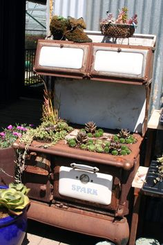 Old wood stoves are fabulous for gardens.