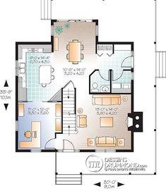 Plan de Maison unifamiliale W2590-V1 (dessins drummond). J'aime la disposition des pièces au rez-de-chaussée. On pourrait par contre inverser la salle à manger et l'entrée?