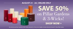 PartyLite® Candles 50% off Pillar sale - Final hours!  http://bit.ly/pillar50