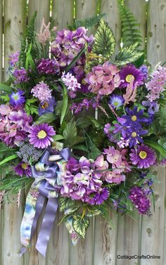 """Hydrangea Royalty"", purple and lavender silk floral door wreath by Cottage Crafts Online."