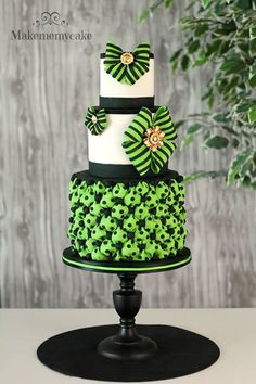 Vivid Green  Black Patterned Tiered Cake