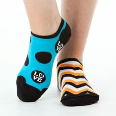 Love & Hope Reversible Liner Socks These reversible socks have double the MissMatched fun! With a mix of dots and fabulous love and hope graphics on one side - plus zany chevron on the other - you'll have tons of options for cute, colorful style. In hues like aqua, yellow, and orange #funkysocks #littlemissmatched
