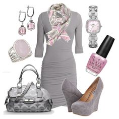 Pale pink and grey, created by luchenskil on Polyvore