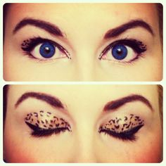 Leopard eye makeup.