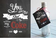 """You are the Diet to my Coke"" free tag printable by Lolly Jane"