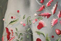 Lina Jonikiene, stitching on a transparent plastic panel - love this idea.
