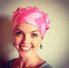 Pink Chevron Bouffant Scrub Hat
