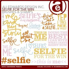 Selfie For The Win Brushes and Stamps - Add #selfie text to a selfie
