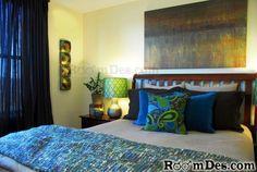 blue, green & brown bedroom